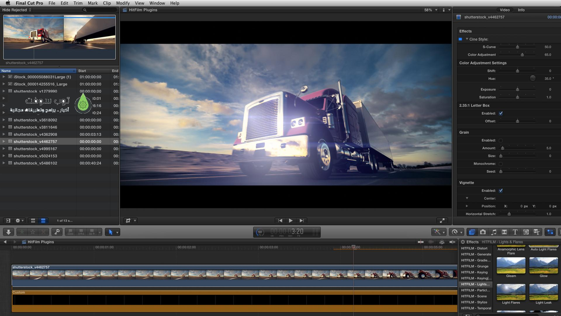 FCPX Truck with flares